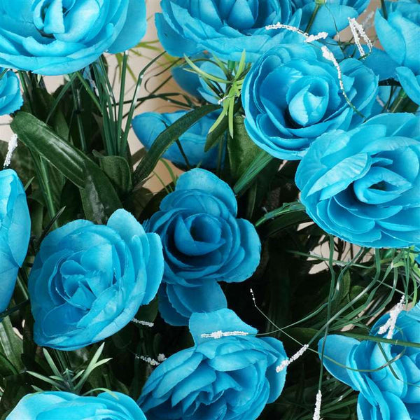 Ranunculus Bush Artificial Silk Flowers - Turquoise