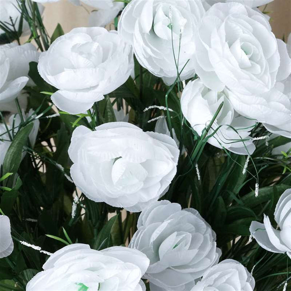 Ranunculus Bush Artificial Silk Flowers - White