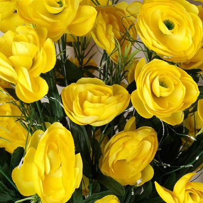Ranunculus Bush Artificial Silk Flowers - Yellow