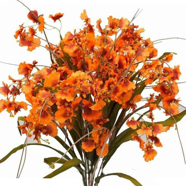 48 Artificial Orchid Flowers Wedding Vase Centerpiece Decor - Orange