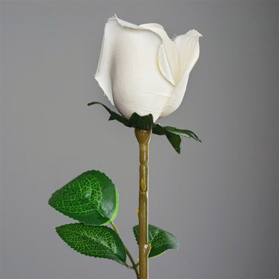 Long Stem Rose Bud Artificial Silk Flowers - Cream