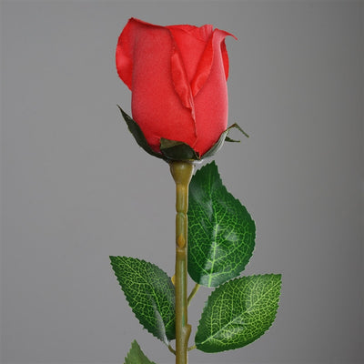 Long Stem Rose Bud Artificial Silk Flowers - Red