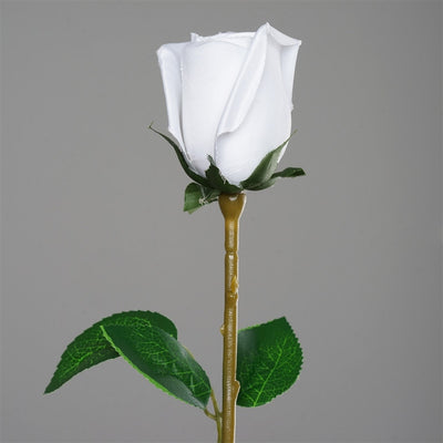Long Stem Rose Bud Artificial Silk Flowers - White