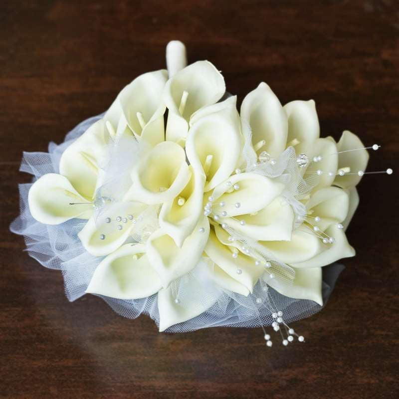 Artificial Handcrafted Lily Wedding Flower Bouquet Centerpiece Decor - Cream