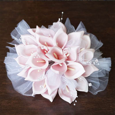 2 Pack Of 26 Artificial Pink Handcrafted Lily Wedding Bridal Bouquet Flower Decoration