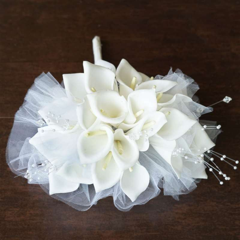 Artificial Handcrafted Lily Wedding Flower Bouquet Centerpiece Decor - White