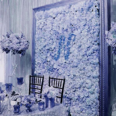 Hydrangea Artificial Flower Wall Mat Panel - Blue - 4 panels