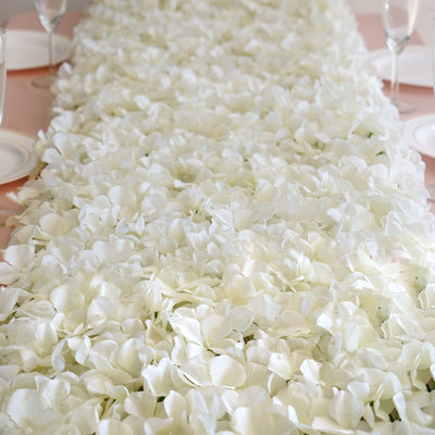 4 PCS Cream Silk Hydrangea Flower Mat Wall Backdrop Photography Panel Photo Booth  Wedding Event Decor