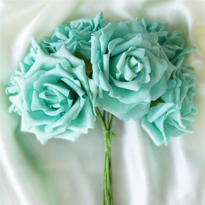 6 Pack Aqua Foam Rose Flower Bouquet For Wedding Centerpiece Vase Decor