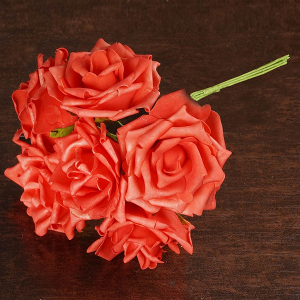 6 Fascinating Foam Rose Bouquets - Coral Red