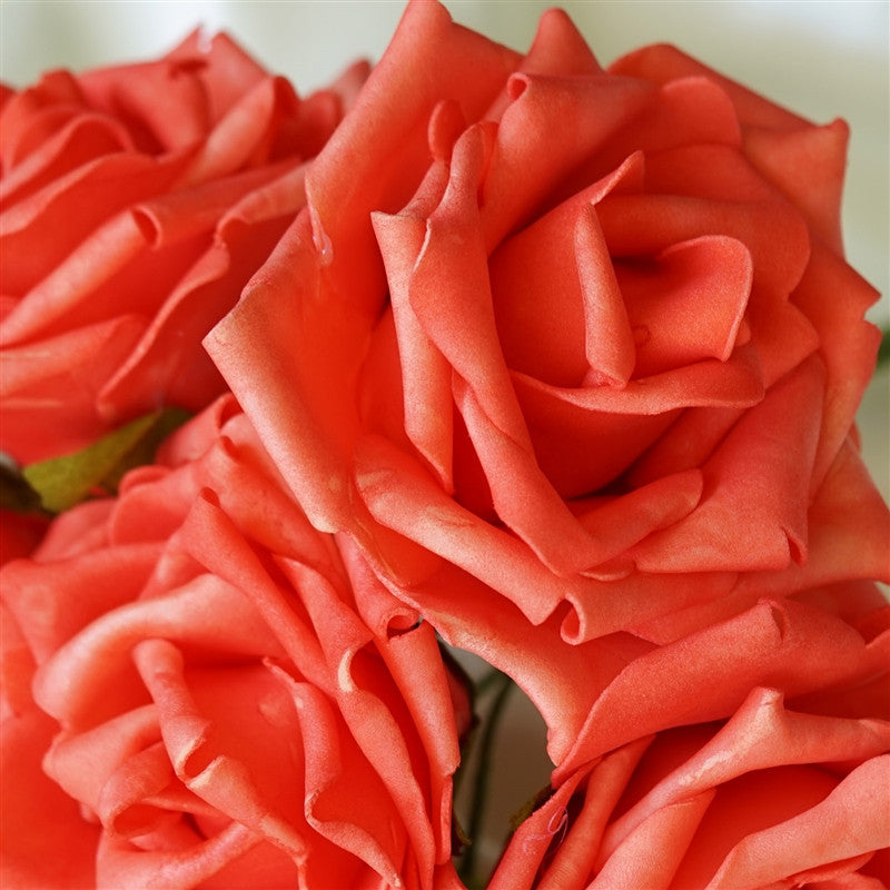 36 Artificial Foam Rose Flowers for Wedding Bouquet Vase Centerpiece Decor - Coral Red