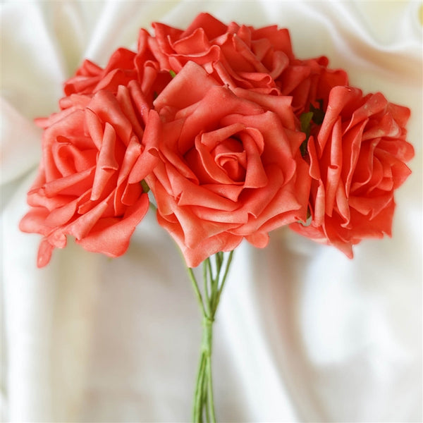 6 Pack Coral Foam Rose Flower Bouquet For Wedding Centerpiece Vase Decor