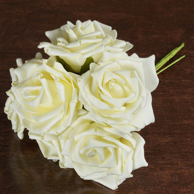 6 Fascinating Foam Rose Bouquets - Cream