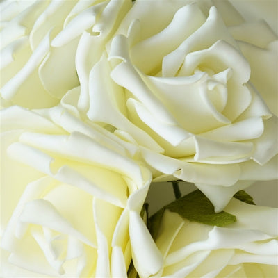 6 Pack Cream Foam Rose Flower Bouquet For Wedding Centerpiece Vase Decor