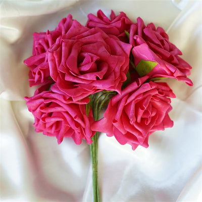 6 Pack Fushia Foam Rose Flower Bouquet For Wedding Centerpiece Vase Decor