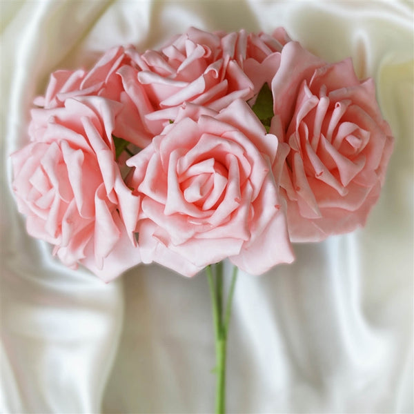 6 Pack Pink Foam Rose Flower Bouquet For Wedding Centerpiece Vase Decor