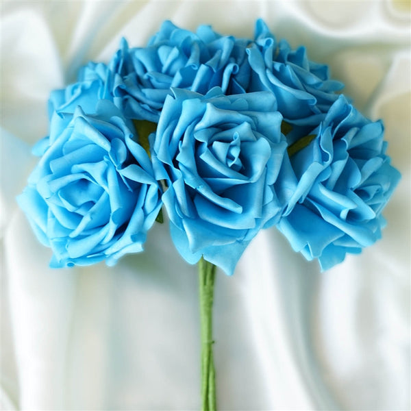 6 Pack Turquoise Foam Rose Flower Bouquet For Wedding Centerpiece Vase Decor