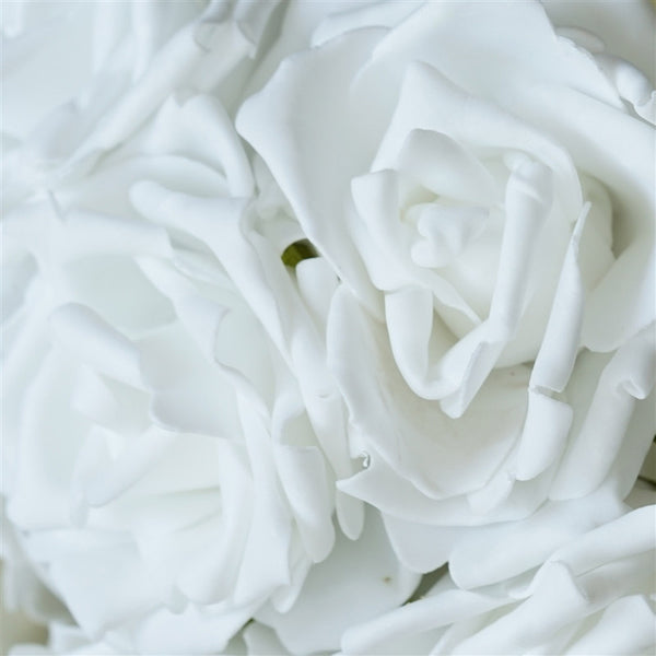 6 Pack White Foam Rose Flower Bouquet For Wedding Centerpiece Vase Decor