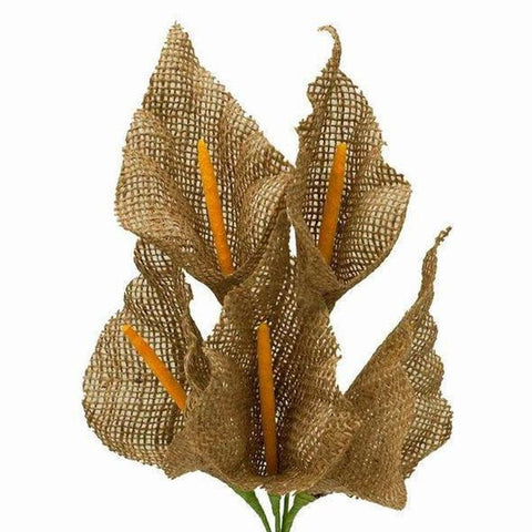 25 Burlap Large Calla Lilies For Bridal Bouquet Wedding Vase Centerpiece Decor - Natural 5 Bushes