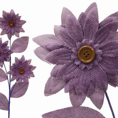 15 Lavender Artificial Burlap Daisie Flowers Wedding Bouquets DIY Crafts Decoration