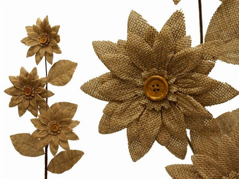 15 Burlap Daisies Flowers For Wedding Home Bouquet Vase Centerpiece Decor - Natural