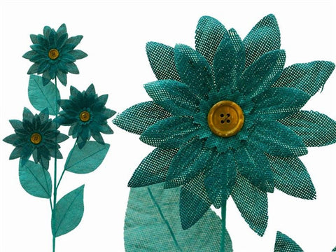 15 Burlap Daisies Flowers For Wedding Home Bouquet Vase Centerpiece Decor - Turquoise