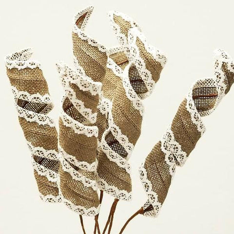 15 Burlap Curly Pharos For Wedding Home Vase Centerpiece Decor - Natural
