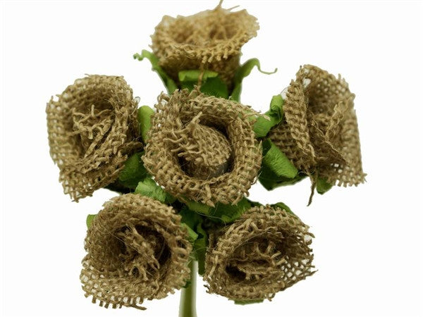 30 Natural Artificial Burlap Rose Buds Wedding Bouquet Vase DIY Crafts Decoration