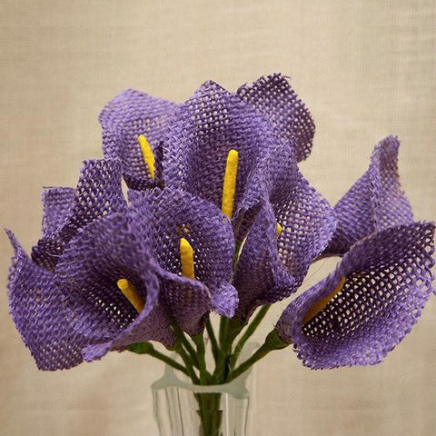 36 Burlap Calla Lilies For Bridal Bouquet Wedding Vase Centerpiece Decor - Lavender 6 Pcs