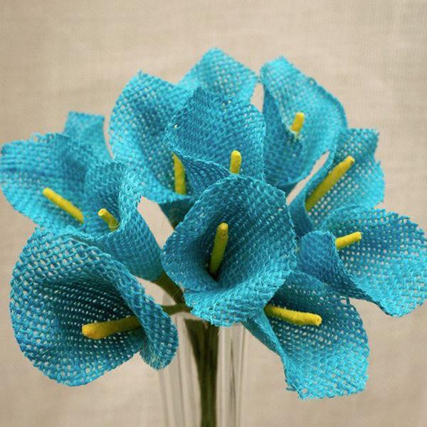36 Turquoise Burlap Calla Lilies Artificial Flowers Wedding Bouquets DIY Crafts Decoration