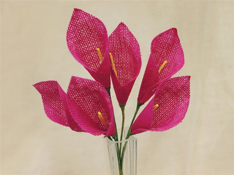 36 Burlap Everyday Calla Lilies For Bridal Bouquet Wedding Vase Centerpiece Decor - Fushia 6 Bushes