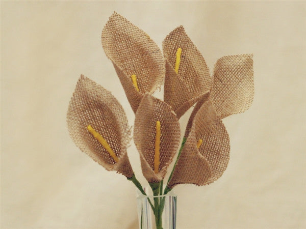 36 Burlap Everyday Calla Lilies For Bridal Bouquet Wedding Vase Centerpiece Decor - Natural 6 Bushes