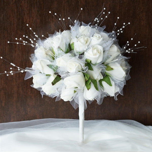 Handcrafted Bridal Rose Bouquet-Cream