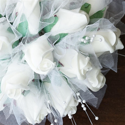 Artificial Handcrafted Rose Wedding Flower Bouquet Centerpiece Decor -White