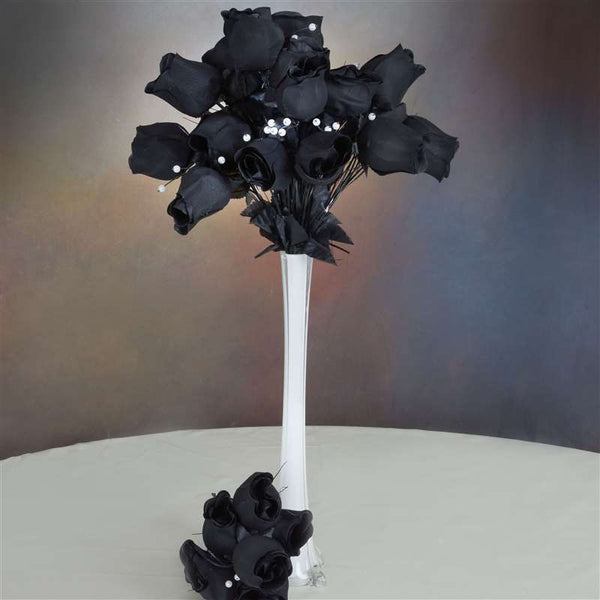 42 Giant Velvet Rose Buds on Long Stems - Black