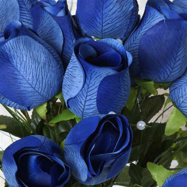 Large Velvet Rose Bud Artificial Silk Flowers - Navy Blue