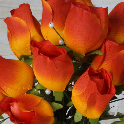 42 Artificial Orange Giant Velvet Rose Buds Wedding Bridal Bouquet Centerpiece Decoration