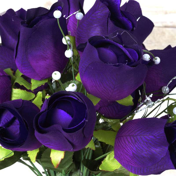 Large Velvet Rose Bud Artificial Silk Flowers - Purple