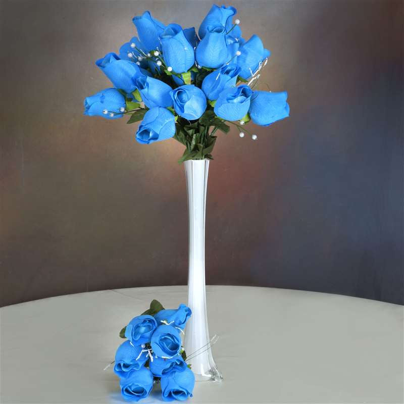 42 Giant Velvet Rose Buds on Long Stems - Turquoise