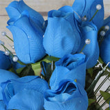 42 Artificial Giant Velvet Rose Buds Wedding Flower Bouquet Centerpiece Decor - Turquoise