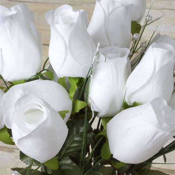 42 Artificial White Giant Velvet Rose Buds Wedding Bridal Bouquet Centerpiece Decoration