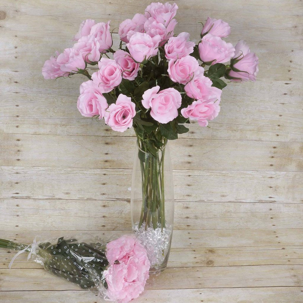 Single stem sold out 48 artificial rose wedding flower bundles vase centerpiece decor pink izmirmasajfo
