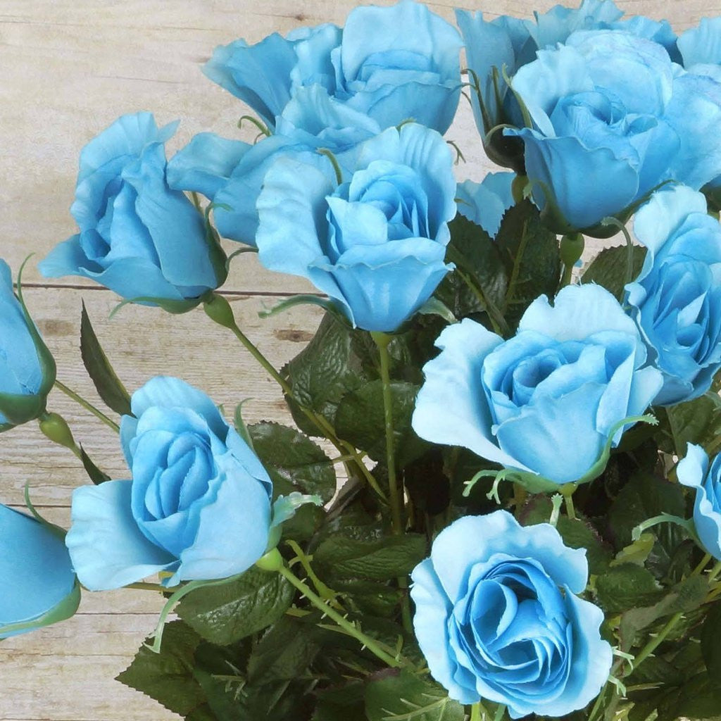 48 Artificial Rose Wedding Flower Bundles Vase Centerpiece Decor -  Turquoise