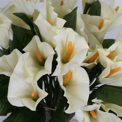 "13"" Artificial Calla Lily Wedding Flower Bouquet Centerpiece Decor-Ivory"