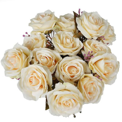 Premium Realistic 9 Layer Open Rose Flower Bushes For Wedding Bridal Bouquet Vase Centerpiece Decor - Cream