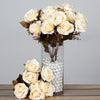 Premium Realistic 9 Layer Open Rose Flower Bush - Cream