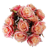 Premium Realistic 9 Layer Open Rose Flower Bushes For Wedding Bridal Bouquet Vase Centerpiece Decor - Pink