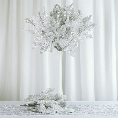 144 wholesale artificial leather fern branches wedding vase 144 leather fern silver mightylinksfo