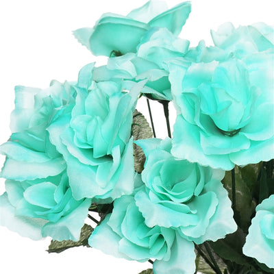 Small Open Rose Bush Artificial Silk Flowers - Aqua