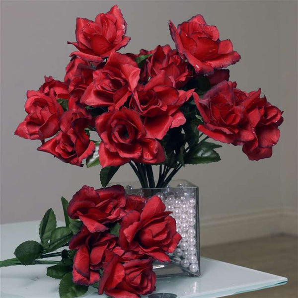 Silk Open Rose-Black/Red-84/pk